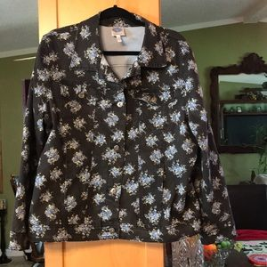 Like new jean jacket with flowers on it